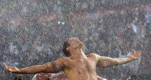 Palermo celebra gol contra o Peru